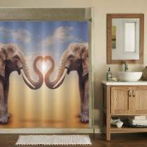 MitoVilla A Pair of Elephants Arrange Trumpets in The Shape of a Heart Shower Curtain Set with Hooks for Bathtub, Romantic Novelty Art Design Bathroom Accessories, 72W X 78L inches, Brown