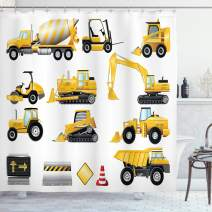 """Ambesonne Nursery Shower Curtain, Yellow Color Construction Site Machinery and Signs Cartoon Illustration, Cloth Fabric Bathroom Decor Set with Hooks, 84"""" Long Extra, Earth Yellow"""