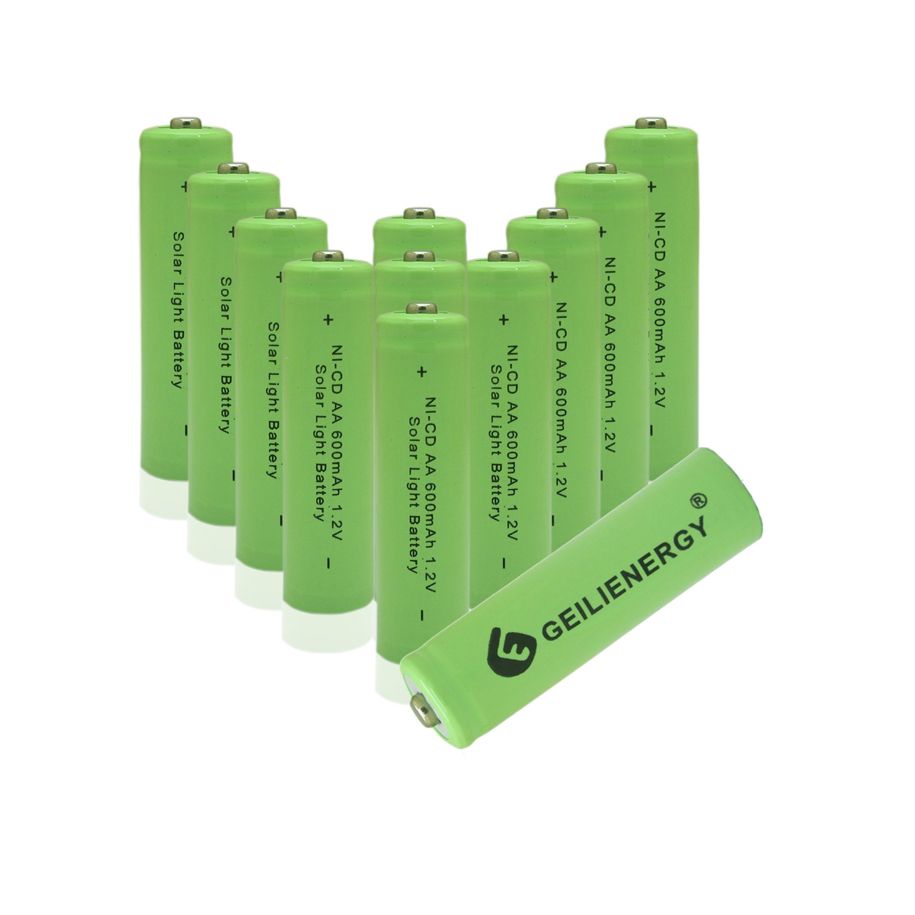 GEILIENERGY 1.2v AA NiCd 600mAh Rechargeable Battery for Solar Light Lamp Green Color (Pack of 12pcs AA NI-CD Batteries)