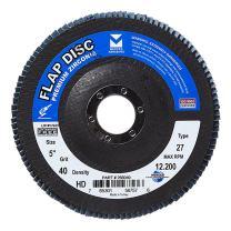 "Mercer Industries 266040 Zirconia Flap Disc, High Density, Type 27, 5"" x 7/8"", Grit 40, 10 Pack"