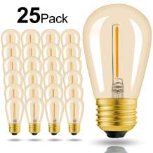 Hizashi - 25 Pack 2200K LED S14 1 Watt Dimmable Bulb E26, String Light Replacement Bulbs - Equal to 11W Incandescent Bulbs - Amber LED Edison Filament Bulbs for Outdoor Patio String Light, UL Listed