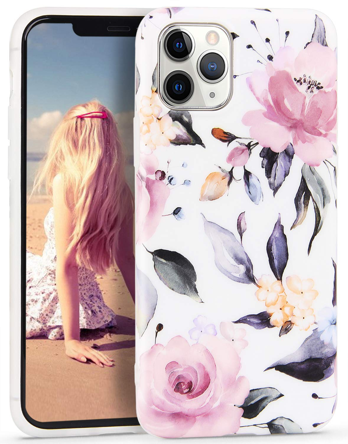 iPhone 11 Pro Case Marble,Imikoko Ultra Slim Fit Soft TPU Matte Marble Floral Case,Protective Shockproof Anti-Scratch Case Cover for iPhone 11 Pro 5.8 inch