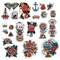 CARGEN Cool Classic Temporary Tattoo Traditional Temporary Tattoo Old School Stickers Waterproof Vintage Sticker