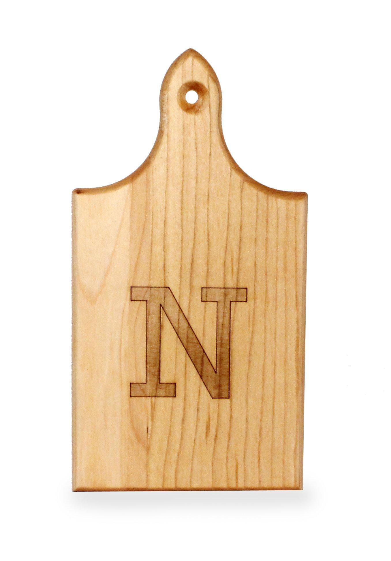 J.K. Adams Q-Tee Cut-Up Sugar Maple Wood Cutting Board, 7-1/2-inches by 4-inches, Alphabet Series, N