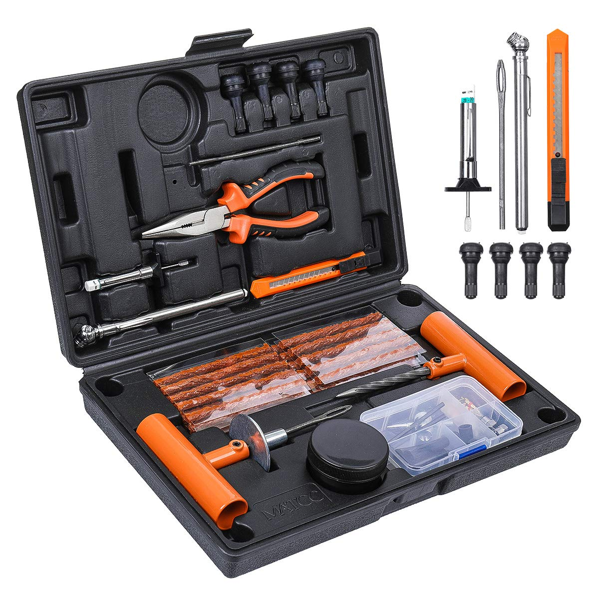 Bike Tube Puncture Repair Flat Tire Patch Glue Kit Wrench Valve Key