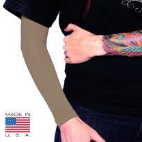 Tat2X Ink Armor Premium Full Arm Tattoo Cover Up Sleeve - No Slip Gripper - U.S. Made - Cappuccino - ML (one Sleeve)