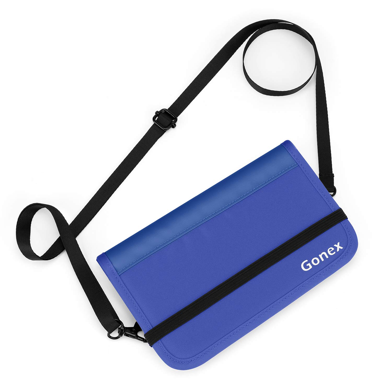 Gonex RFID Blocking Passport Holder Travel Wallet, Water Repellent Polyester Document Organizer, YKK Zipper Case with Removable Shoulder Strap for Men and Women, Blue