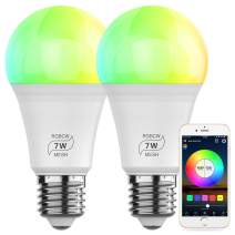 Bluetooth Smart Light Bulb, HaoDeng Smartphone App Control, A19 E26 7w (60w Equivalent) RGBCW Multicolor Dimmable Light Bulb (2Pack)