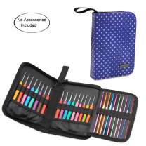 Teamoy Crochet Hook Case, Travel Carry Bag for Ergonomic Crochet Hooks Kits, Aluminum Crochet Hooks, Steel Crochet Hook and More, Lightweight, Well Made-NO Accessories Included, Purple Dots