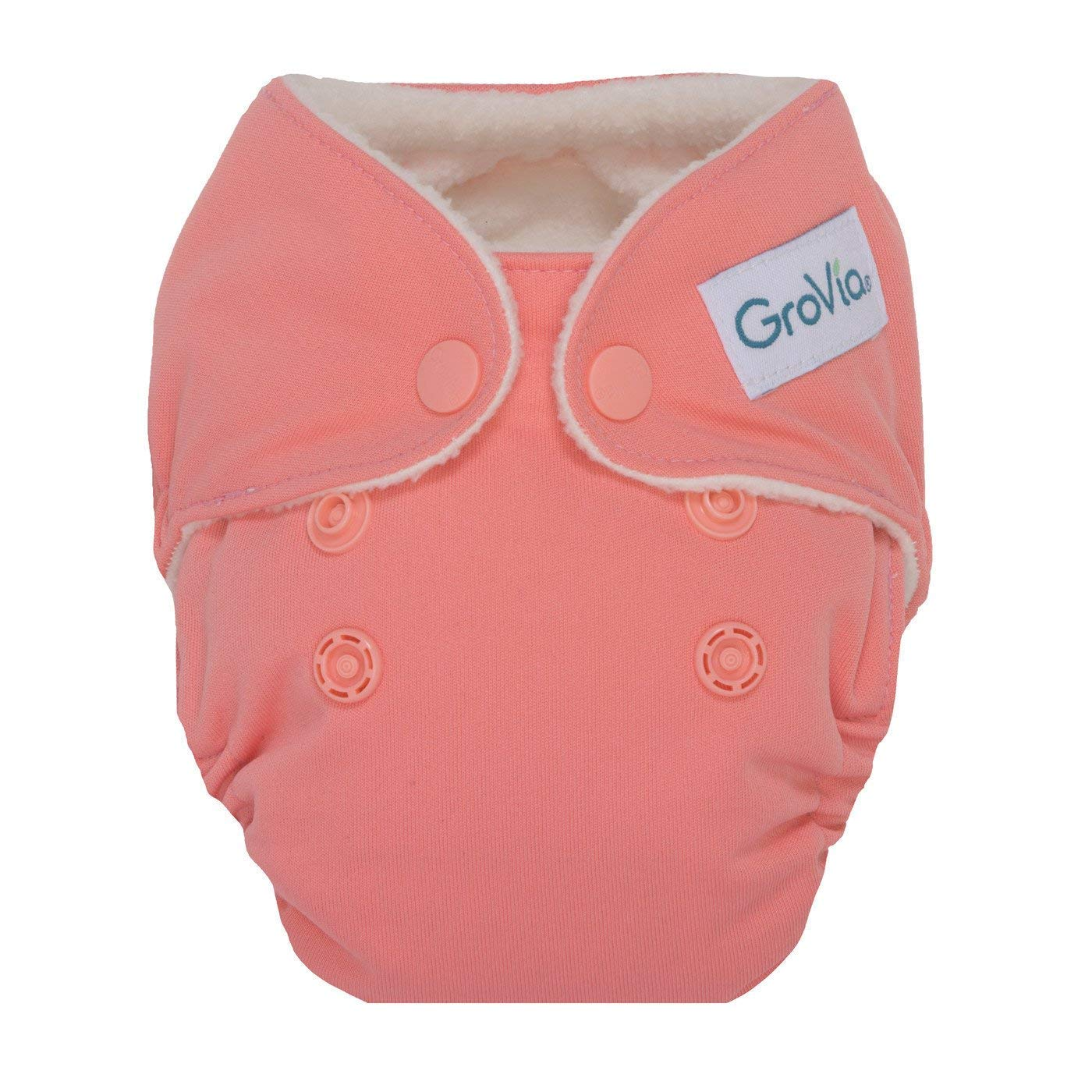 GroVia Newborn All in One Snap Reusable Cloth Diaper (AIO) (Rose)