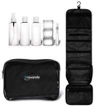 "TRAVANDO Hanging Toiletry Bag""FLEXI"" + 7 TSA Approved Liquid Bottles - Travel Set for Men and Women - Toilet Kit for Cosmetics, Makeup - Organiser for Suitcase - Wash Bag with (Black)"