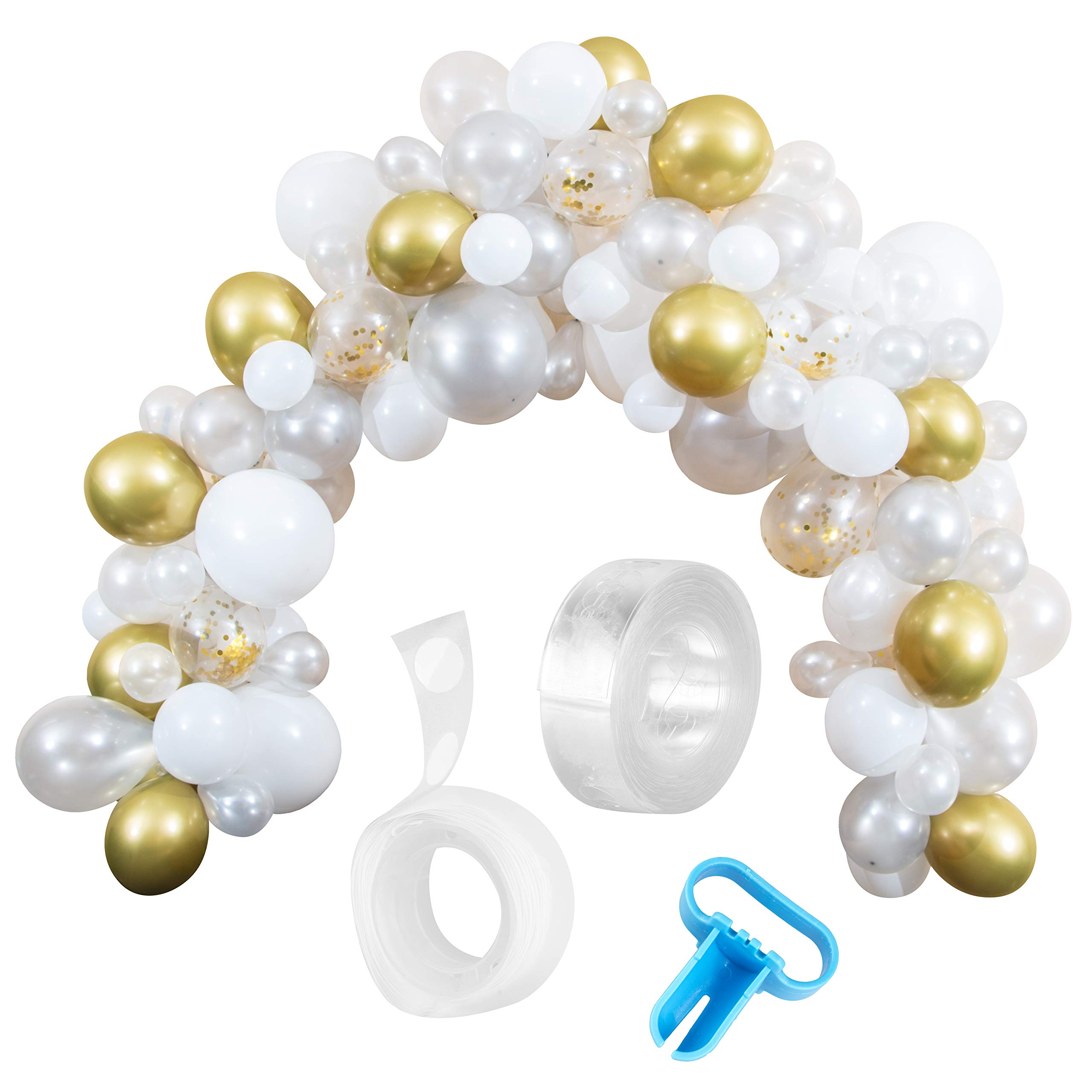 Styl'd Setter Balloon Garland Kit - 114 Pieces White and Gold Latex Balloon Arch Garland with 16 Feet Decoration Strip, Confetti Balloons for Housewarming, Birthdays, Baby Showers,Anniversary Parties