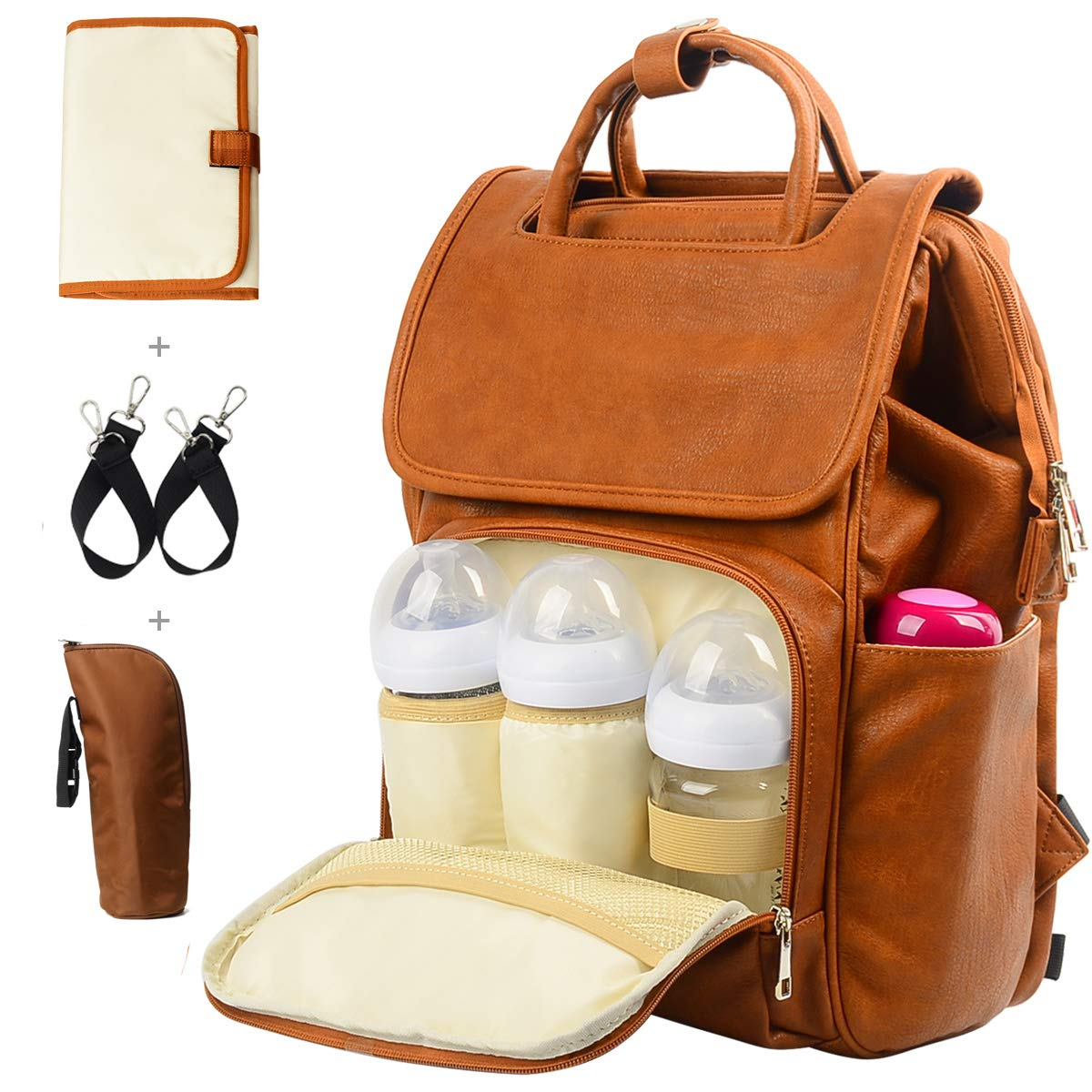 Leather Diaper Backpack, Travel Diaper Backpack Nappy Baby Bags for Mom Unisex Maternity Diaper Bag with Stroller Hanger|Thermal Pockets|Adjustable Shoulder Straps|Water Proof| LargeCapacity (Brown)