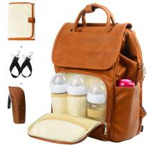 Leather Diaper Backpack, Travel Diaper Backpack Nappy Baby Bags for Mom Unisex Maternity Diaper Bag with Stroller Hanger Thermal Pockets Adjustable Shoulder Straps Water Proof  LargeCapacity (Brown)