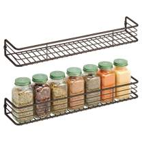mDesign Metal Wire Wall Mount Spice Rack Shelf - Organizer for Kitchen Cabinet, Cupboard, Food Pantry - Bottle Holder - 16 Inches - 2 Pack - Black