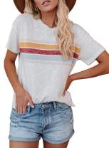 Zecilbo Women's Summer Striped Short Sleeve Blouses T-Shirt Casual Loose Fit Tunics Tops