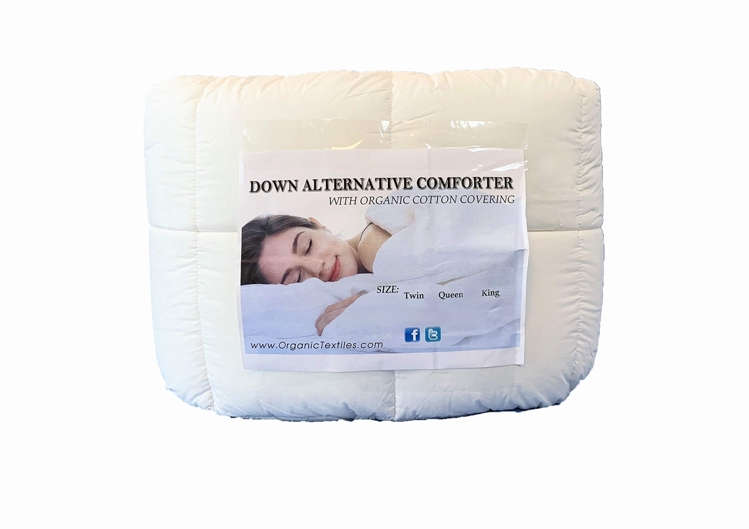 OrganicTextiles White Down Alternative Bed Comforter, Twin, with Premium Organic Cotton Covering – Eco Friendly Alternative - No Toxic Chemicals - Hypoallergenic Bedding - All Seasons Use