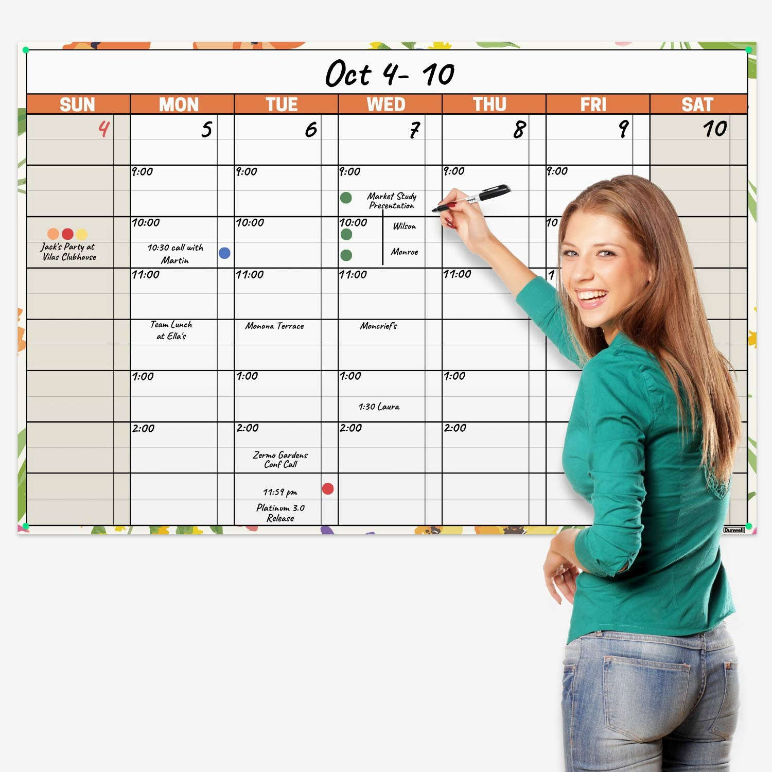 Jumbo 32x48 Erasable Monthly-Weekly Undated Planner (Floral), Reversible Wet Erase and Dry Erase Monthly Weekly Calendar, Laminated Wall Poster Calendar, Reusable, Shipped Rolled Not Folded