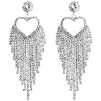 minmin Wedding Long Chandelier Rhinestone Tassel Heart Dangle Drop Earrings for Women Party Jewelry Ladies Gifts