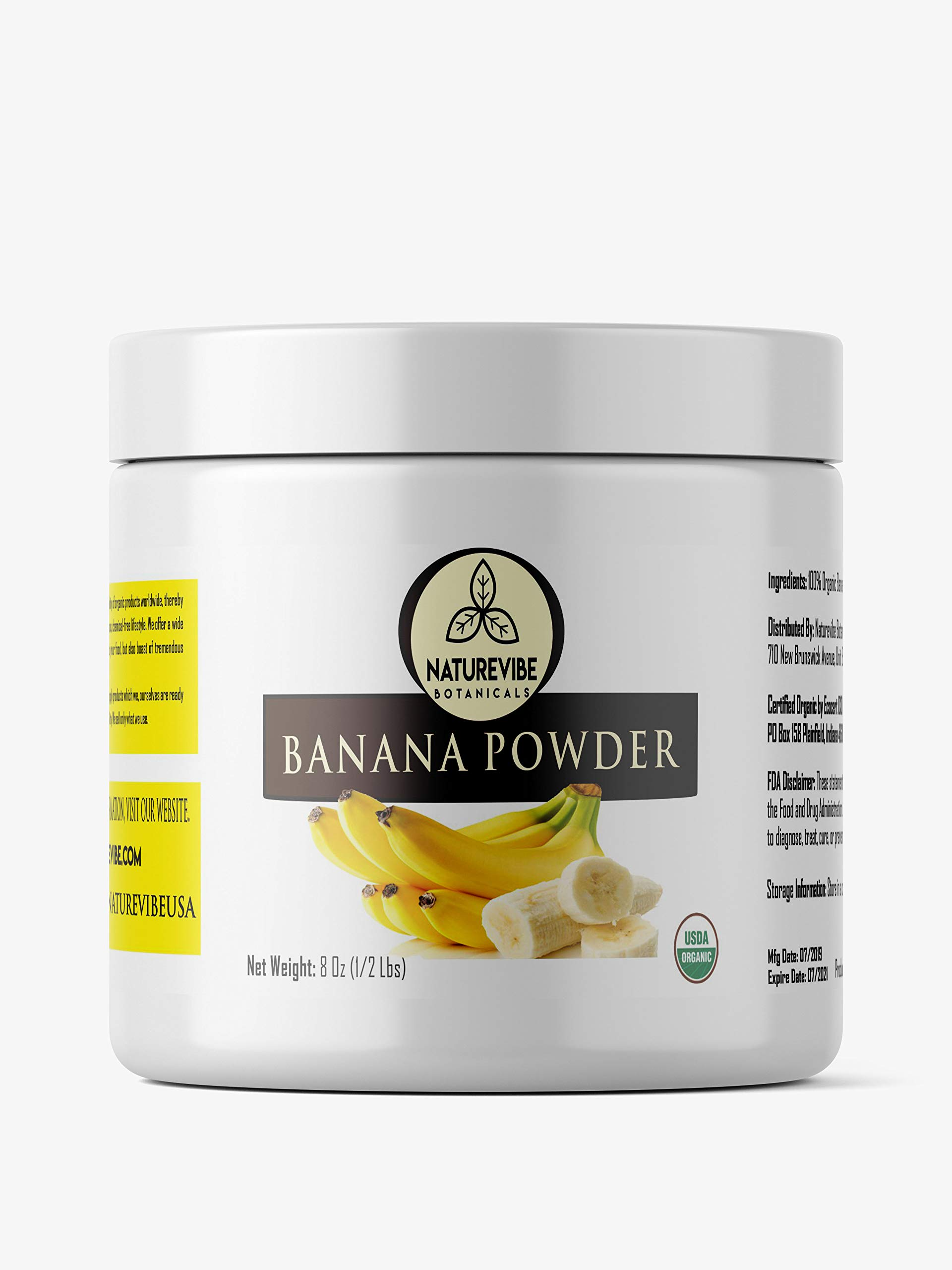 Naturevibe Botanicals Organic Banana Powder, 8 ounces   Non-GMO and Gluten Free   Adds Flavor   Rich source of protein