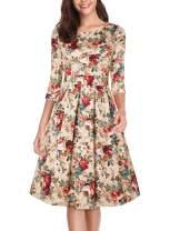 oten Women's Floral Vintage Dress Elegant Midi Cocktail Dress 3/4 Sleeves with Pockets
