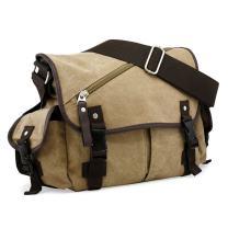 Oct17 Men Messenger Bag School Shoulder Canvas Vintage Crossbody Military Satchel Bag Laptop Khaki