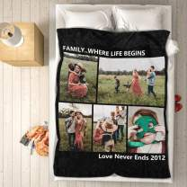 """VEELU Personalized Throw Blanket Super Soft for Baby & Adult Custom Collage Fleece Blanket with My Own Photos Names Pictures Birthday Wedding Gift 40""""x50"""""""