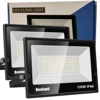 Flood Lights Outdoor, Boxlood 120W LED Flood Light IP66 Waterproof 6000K Cool White 12000lm Super Bright 180°Adjustable Angle Perfect for Basketball Court Stadium Playground Garage Backyard (2 Pack)