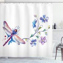 "Ambesonne Dragonfly Shower Curtain, Watercolor Bug Butterfly Like Moth with Branch Ivy Flowers Lilies Art, Cloth Fabric Bathroom Decor Set with Hooks, 70"" Long, Purple Green"