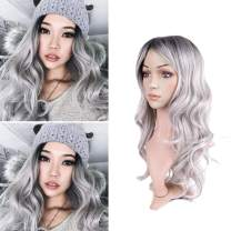 PHOCAS Hairphocas Ombre Grey Wigs Long Wavy Curly Sliver Wig Dark Roots Free Part Synthetic Cosplay Party None Lace Replacement Wig