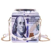 Freie Liebe Dollar Bill Takeout Box Purse Tote Shoulder Handbags Crossbody Chain Bags for Women