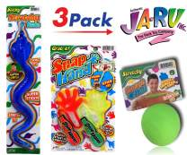 JA-RU Stretchy Snap Hand, Stretchy Ball and Sticky Giant Snake 3 Pack Bundle Birthday Party Favor Toy, Pinata Filler, Bulk Toys for Kids E2 315-401-430