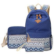 HITOP Backpacks for Teen Girls, Cute Fashion School Student Bookbag Set, Laptop Bag Shoulder Bag Pencil Bag 3 in 1 … (Navy Blue (1 Set))