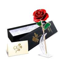 KING DOO 24K Gold Dipped Roses with Stand, Gold Plated Preserved Real Rose Eternity Artificial Flowers Gift Packed for Anniversary, Valentines Day, Birthday, Christmas and Mother's Day (Red)
