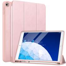 """MoKo Case Fit New iPad Air (3rd Generation) 10.5"""" 2019 with Pencil Holder - Slim Lightweight Smart Shell Stand Cover Case with Auto Wake/Sleep Fit iPad Air 3 2019 Tablet - Rose Gold"""
