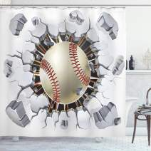 """Ambesonne Sports Shower Curtain, Baseball and Old Plaster Concrete Wall Damage Illustration Competition, Cloth Fabric Bathroom Decor Set with Hooks, 84"""" Long Extra, White Red"""