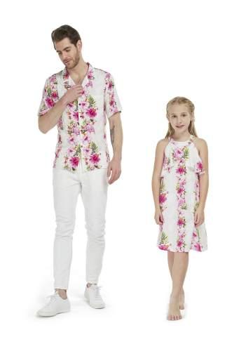 Matching Father Daughter Hawaiian Luau Cruise Outfit Shirt Dress Pink Hibiscus Vine