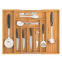 Dranixly Silverware Drawer Organizer, Bamboo Cutlery Tray Desk Drawer Organizer, Expandable Adjustable Kitchen Drawer Organizer (Natural, 21.2 inch)