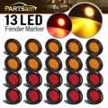 "Partsam 20Pcs 2.5"" Round Led Side Marker Lights 13 Diodes Reflectors Grommet and Pigtails Truck RV Waterproof, 2.5 Round Led Trailer Lights, Cab Panel Lights for Breather Bar (10Amber+10Red)"