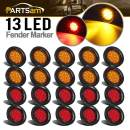 "Partsam 20Pcs 2.5"" Round Led Side Marker Lights 13 Diodes Reflectors Grommet and Pigtails Truck RV Waterproof, 2.5 Round Led Trailer Lights, Cab Panel Lights for Breather Bar (10Amber+10Red)"