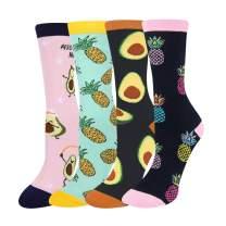 HAPPYPOP Women Pineapple Avocado Fruit Socks, Novelty Donut Sushi Fried Eggs Food Socks with Gift Box