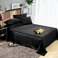 LilySilk Silk Sheets Queen Size, 25 Momme Silk Sheet Set, Pure Real Mulberry Silk, Cool, Luxury, for Travel, Soft and Breathable Black
