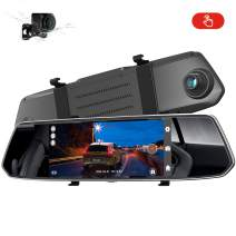 AUTOSOCT Dual Mirror Dash Cam with 7'' Touch Screen Waterproof Backup Camera Rear View Dash Camera for Cars with Night Vision, G-Sensor, Loop Recording, Motion Detection, Parking Monitor