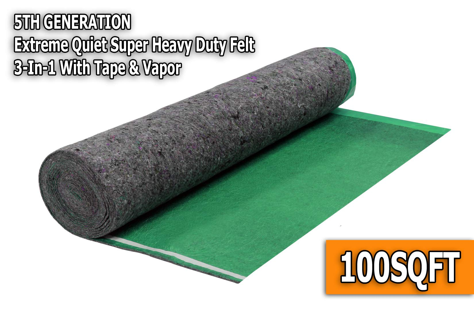AMERIQUE 691322307030 Emerald Green 100SQFT 5TH Generation Extreme Quiet Super Heavy Duty Felt 3-in-1 Underlayment Padding with Tape & Vapor Barrier, 3.2MM, 100 sq. ft Square Feet