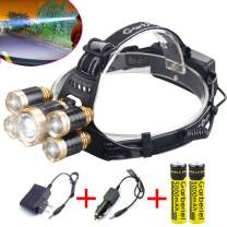 LED Headlamp, Garberiel 8000 Lumens 4 Modes 5-T6 Rechargeable Waterproof Head lamp Flashlight and Battery, Charger for Climbing, Camping, Walking, Caving, Fishing, Cycling