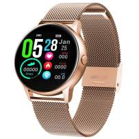 MBHB Women's Sport Watch, Fitness Tracker with Heart Rate Sleep Monitor, Waterproof Smart Bracelet for Android iOS, Gold ((9.1 inch)