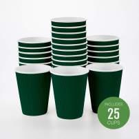 Insulated Paper Coffee Cups - Ripple Wall - Forest Green - 12 oz - 25ct Box - MATCHING LIDS SOLD SEPARATELY: RWA0360B, RWA0360W, RWA0328LG, RWA0328GR, RWA0328HP, RWA0283W, RWA0283B