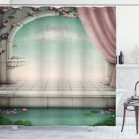 "Ambesonne Irish Shower Curtain, Traditional Heart Motifs in Green Tones Monochrome Illustration Swirls, Cloth Fabric Bathroom Decor Set with Hooks, 84"" Long Extra, Green Pink"