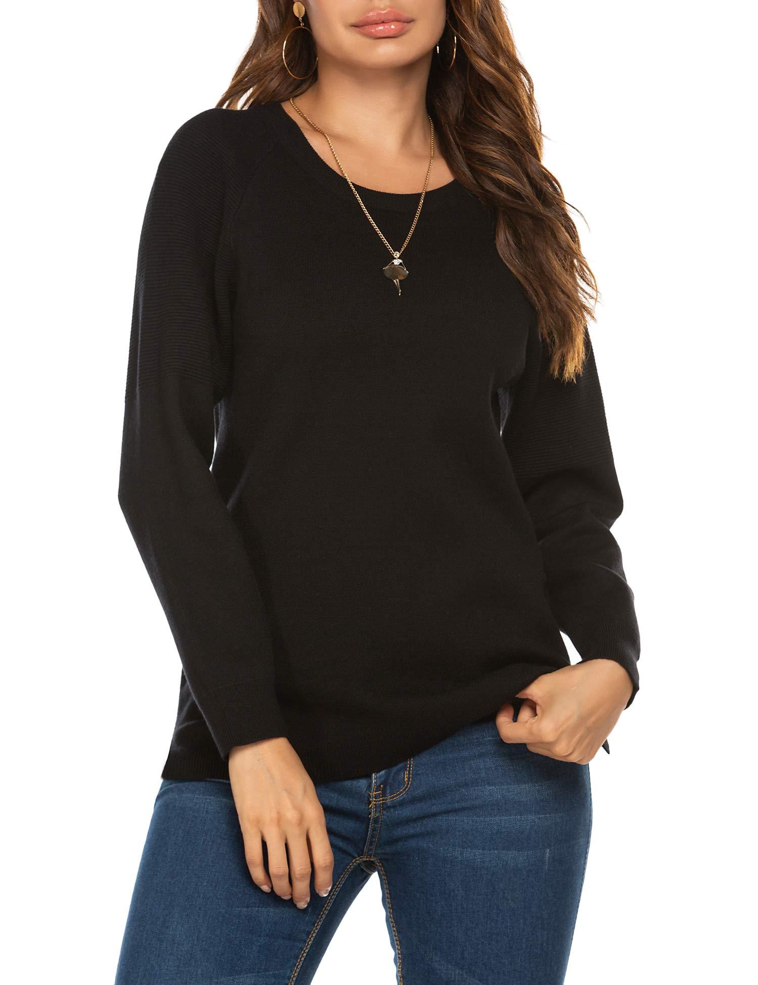 Ekouaer Pullover Sweaters for Women Long Sleeve Side Split Hi-Low Sweater Tops
