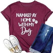 Dog Mom Shirts for Women Namastay Home with My Dog Shirt Dog Paw Print Short Sleeve Dog Mom Tee Tops